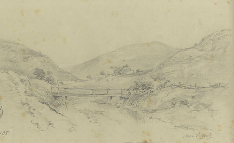 Ralph Stubbs, River Bridge, Sandsend-Original late 19th-century graphite drawing