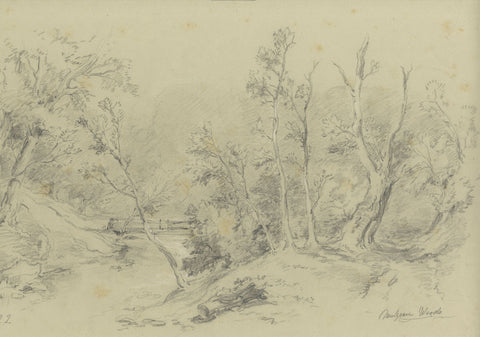 Ralph Stubbs, River and Tree Study, Whitby - Late 19th-century graphite drawing