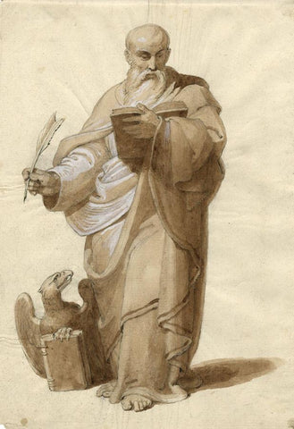 Portrait of St John the Evangelist -Early 19th-century sepia watercolour painting