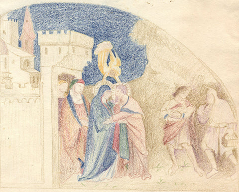 Meeting of St. Joachim and St. Anne - 19th-century coloured graphite drawing