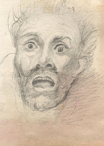 Male Portrait in Surprise or Fear - Original late 19th-century graphite drawing