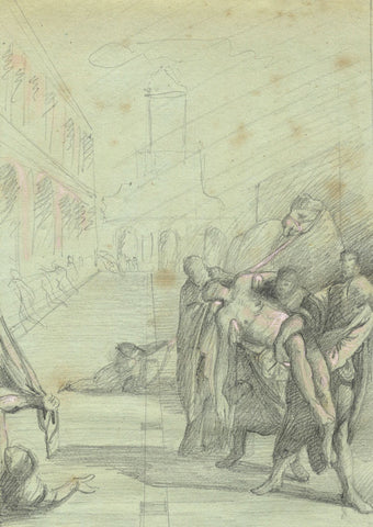 Stealing of the Body of St Mark - Original late 19th-century graphite drawing
