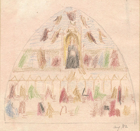 Allegory of Church Militant - Original 19th-century coloured graphite drawing