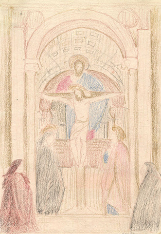 Masaccio's Holy Trinity, Florence - Original 1882 coloured graphite drawing
