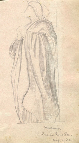 Masaccio's Saint John, Florence - Original late 19th-century graphite drawing