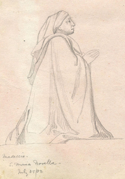 Kneeling Donor, Masaccio's Holy Trinity - Original 19th-century graphite drawing
