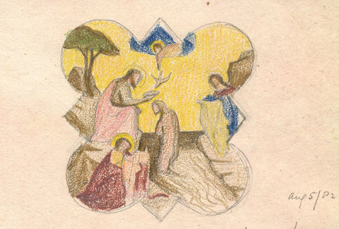 Taddeo Gaddi's Baptism, Giotto - Original 1882 coloured graphite drawing