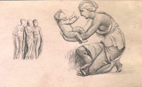 Mother and Child Sculpture - Original late 19th-century graphite drawing