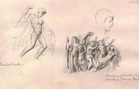 Bacchus and Ariadne, Sculptures - Original late 19th-century graphite drawing