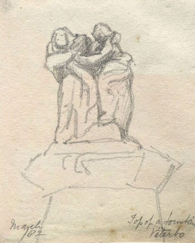 Fountain Sculpture, Viterbo, Italy - Original 1882 graphite drawing