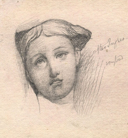 Lady Portrait, after Ingres - Original late 19th-century graphite drawing