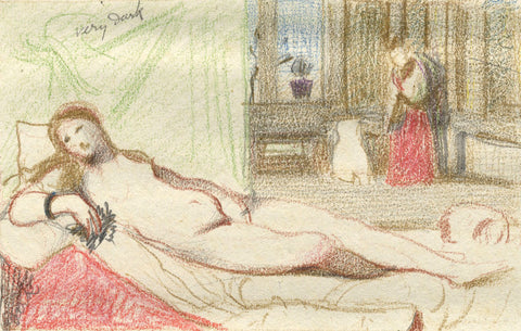 Venus of Urbino - Original late 19th-century coloured graphite drawing
