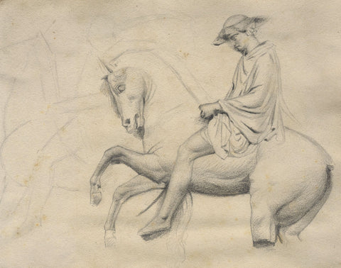 Man on Horse, Venice - Original late 19th-century graphite drawing