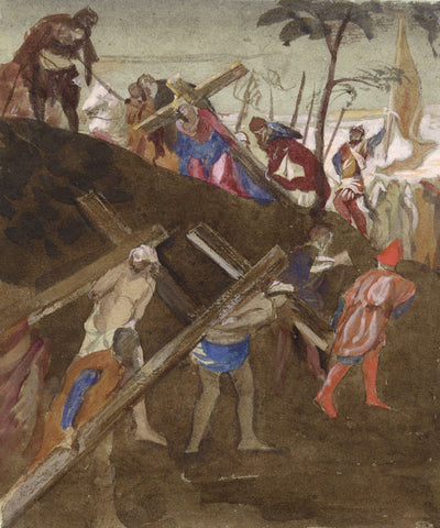 Journey to Calvary, after Tintoretto - Late 19th-century watercolour painting