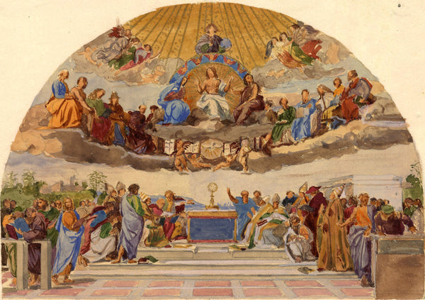 The Disputation on the Holy Sacrament  - late 19th-century watercolour painting