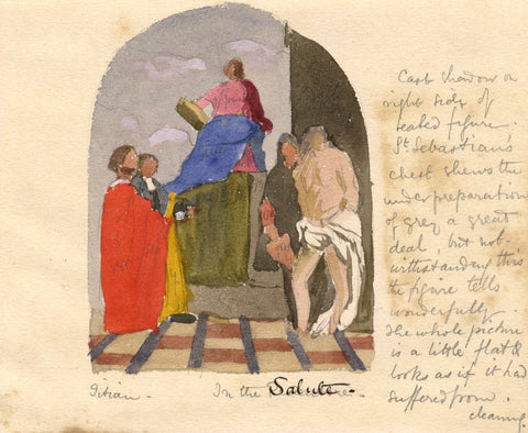 St. Mark Enthroned with Saints - Original late 19th-century watercolour painting