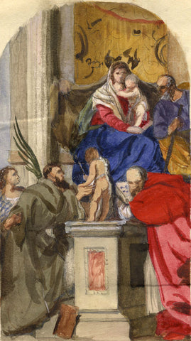 Veronese's Enthroned Madonna & Child - late 19th-century watercolour painting