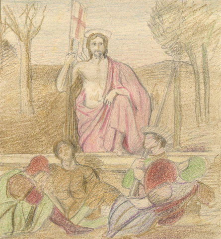 The Resurrection Piero della Francesca - Original 1882 coloured graphite drawing