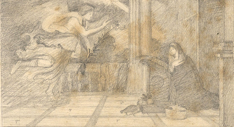 after Titian's Annunciation - Original late 19th-century graphite drawing