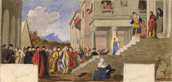 Presentation of the Virgin - Original late 19th-century watercolour painting