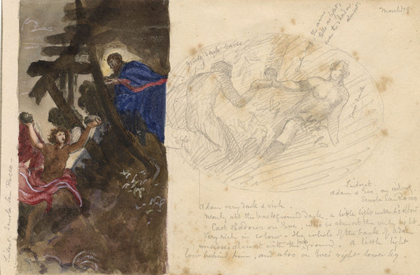 Adoration of the Shepherds - Original 1879 watercolour painting