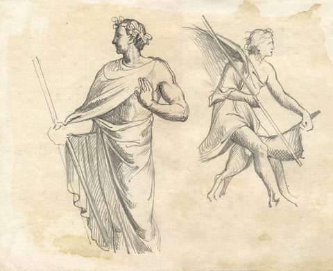 Classical Figures, Hunters - Original late 19th-century graphite drawing