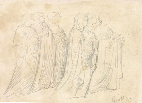 Robed Figures, Copy after Giotto - Original late 19th-century graphite drawing