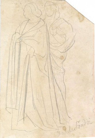 Figures, Copy after Taddeo Gaddi - Original late 19th-century graphite drawing