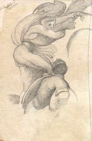 Figures, Sistine Chapel, Copy after Michelangelo - 19th-century graphite drawing