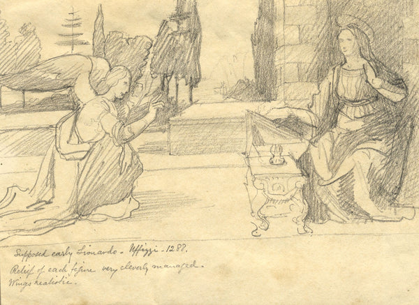Annunciation, Copy after Leonardo - Original late 19th-century graphite drawing