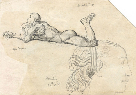 Male Nude, Copy after Ingres - Original late 19th-century pen & ink drawing