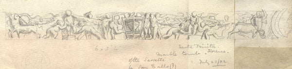 Tomb of the Sassetti, Florence - Original 1882 graphite drawing