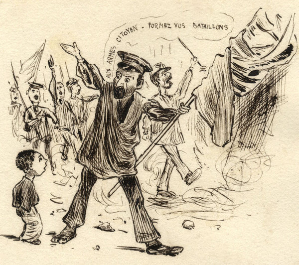 Pickford Robert Waller, French Soldiers - Late 19th-century pen & ink drawing