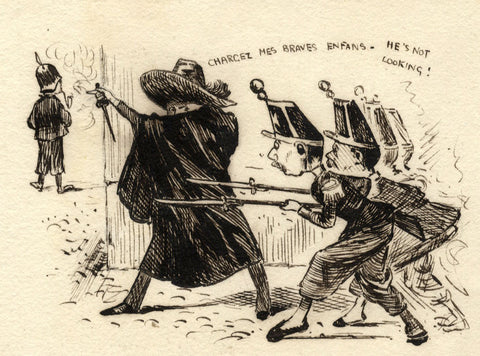 Pickford Robert Waller, Soldier Ambush - Late 19th-century pen & ink drawing