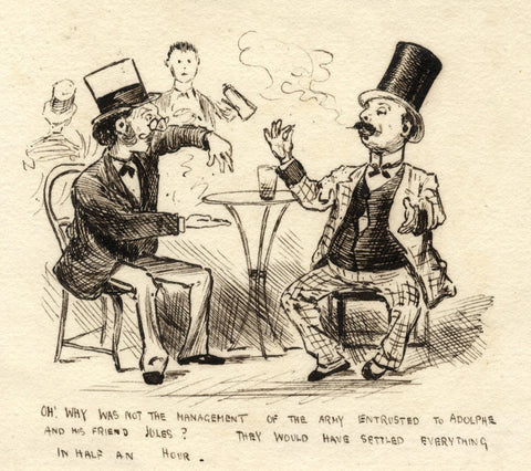Pickford Robert Waller, Drunken Conversation-Late 19th-century pen & ink drawing