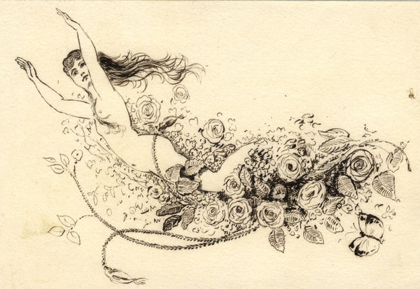 Pickford Robert Waller, Nude with Flowers - Late 19th-century pen & ink drawing