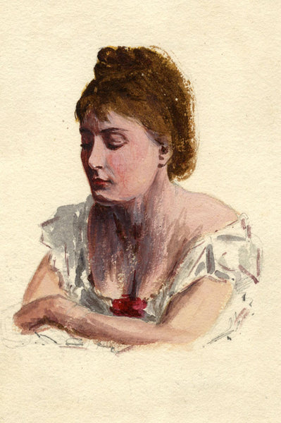 Pickford Robert Waller, Lady in White - Late 19th-century watercolour painting