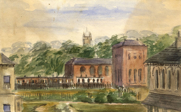 M. Conway, Harrogate City, View to St. Paul's-Original 1873 watercolour painting