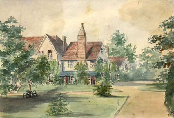 M. Conway, Hill House, Belstead, Suffolk - Original 1873 watercolour painting