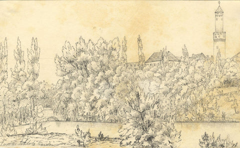 Château de Bad Homburg Gardens - Original mid-19th-century graphite drawing
