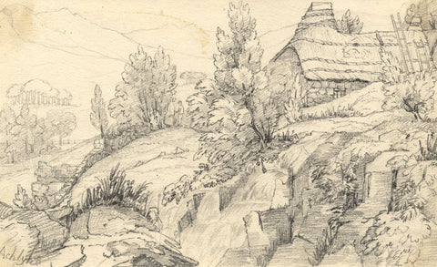 Auchlyne Cliff Cottages, Scotland - Original mid-19th-century graphite drawing