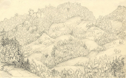 Mountains at Bellerive, Switzerland - Original mid-19th-century graphite drawing