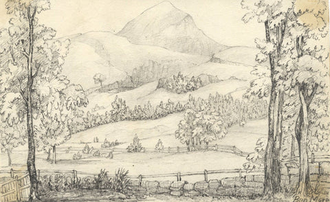 View of Ben More Mountain, Scotland - Original mid-19th-century graphite drawing