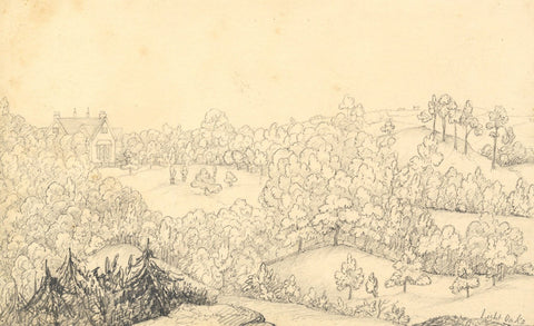 Lightoaks Lodge and Grounds, Staffordshire - Original 1850 graphite drawing