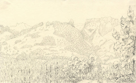 Dent de Jaman, Vevey, Switzerland - Original mid-19th-century graphite drawing