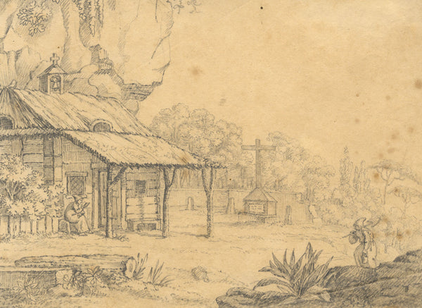 German Rural Church with Monks - Original mid-19th-century graphite drawing