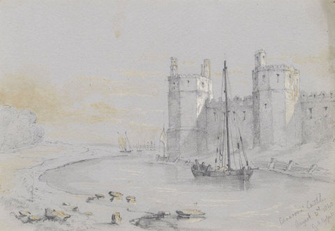 G.M. Gofsit, Boats at Carnarvon Castle, Wales - Original 1840 graphite drawing