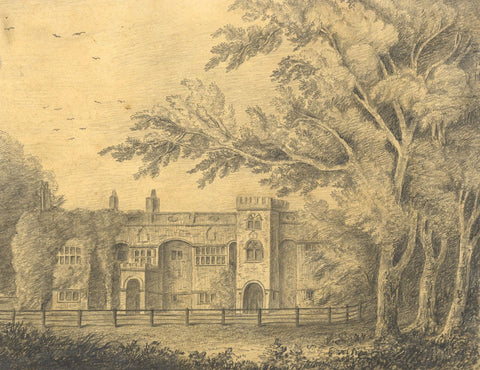 Grand Manor House and Gardens - Original mid-19th-century graphite drawing