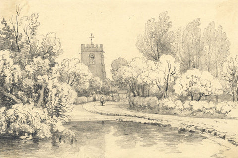 Country Church Tower near a Lake - Original mid-19th-century graphite drawing