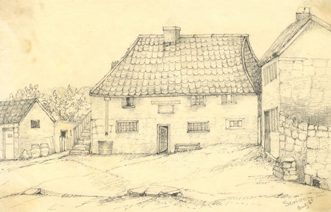 Inn at Scriven, North Yorkshire - Original mid-19th-century graphite drawing